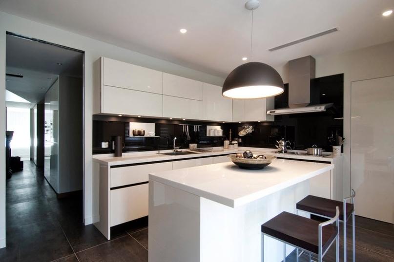 Черно-белая кухня – особенности контрастного дизайна., изображение №2