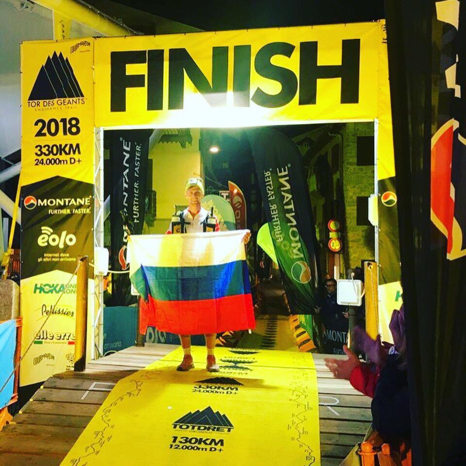 Геннадий Дубровин на финише горного трейла Tor Des Geants — 2018г.