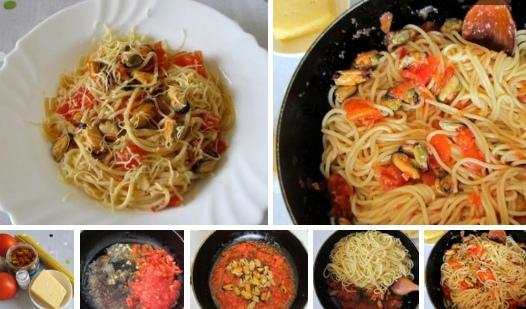 Спагетти с мидиями, в томатном соусе