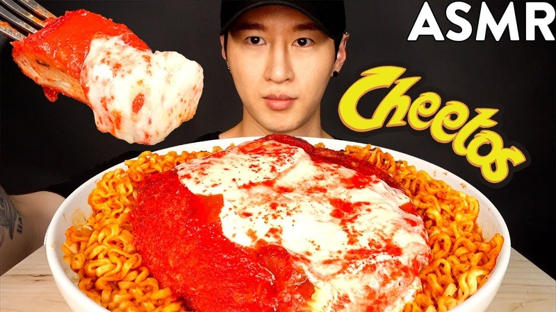 ASMR HOT CHEETOS CHICKEN PARMESAN SPICY FIRE NOODLES (No Talking) COOKING EATING SOUNDS