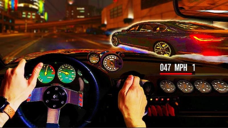 GTA V Illegal Street Racing 1on1 BOOM 💥 Real Hands Steering Wheel