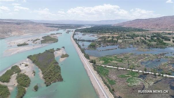 Река Хуанхэ с высоты птичьего полета.