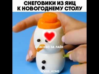 Снеговики из яиц к НОВОГОДНЕМУ СТОЛУ