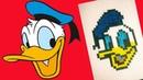 Рисуем по клеточкам 16 Дональд Дак ( Donald Duck ) draw Donald Duck pixel art