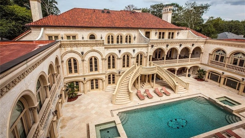 Luxury Palatial Mediterranean Mega Mansion Offers Exquisite Details and Resort Style Swimming Pool