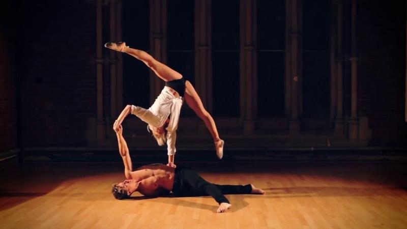 Passionate acro balance acrobatic duet