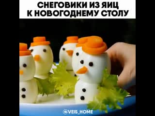 Снеговики из яиц к НОВОГОДНЕМУ СТОЛУ.