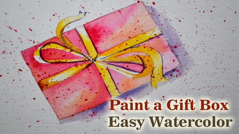 Watercolor Greeting Card Drawing Idea Draw Paint a PINK GIFT BOX EASY 🎁
