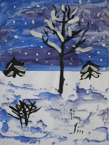 елка рисунок в первый класс на тему зима заболевании ушей