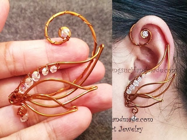 Angel wing ear cuff wire wrap jewelry design 71