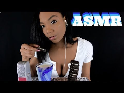 ASMR Oreos and Milk Eating Crunching Chewing and Sipping Sounds For Relaxation АСМР Печеньки
