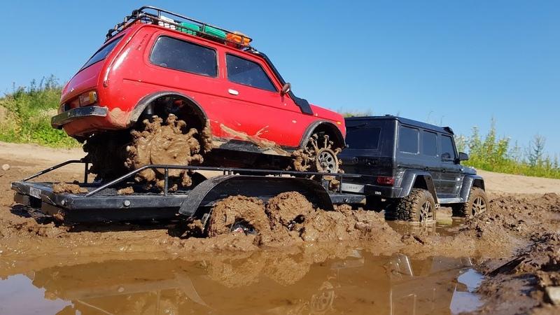 ГЕЛИК G500 вытаскивает Ниву на пневме. Перевозка по гряземесу! Traxxas TRX-4