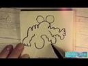 рисунки чудиков. Странные существа. процесс рисования из каракуль чёрным маркером