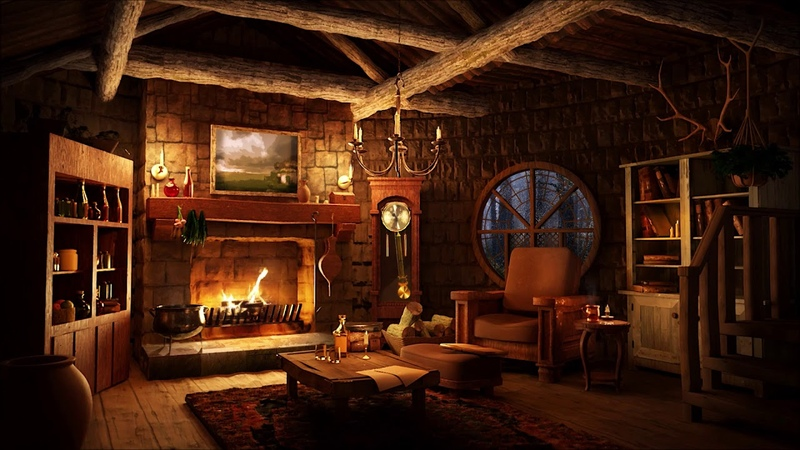 Cozy Hut Ambience Light Rain Sounds with Warm Fireplace