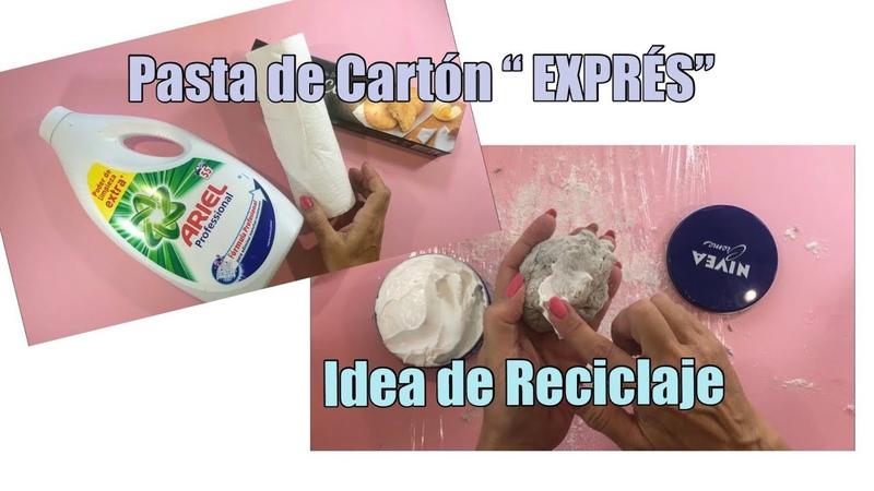 """RECETA DE MASA DE CARTÓN EXPRÉS"""" Reciclando un Envase de Jabón 😊"""