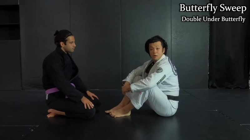 Double Under Butterfly Guard Straight Armlock Sweep Taking the Back