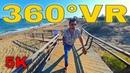 360° VR Long Beach Walk Travel Vlog North Cyprus Visit Famagusta Bogaz 5K 3D Virtual Reality HD 4K
