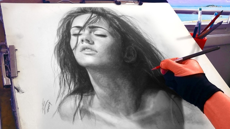 Megan Fox charcoal Portrait Drawing video ThePortraitArt Art Drawing Video