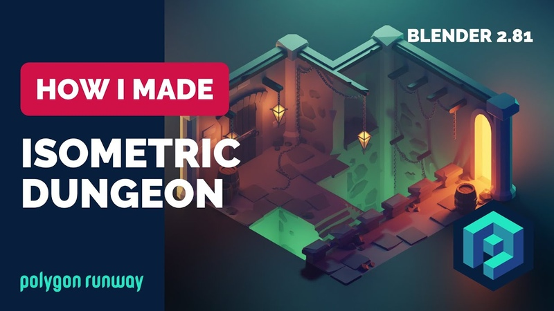 Dungeon in Blender 2.8 - Low Poly 3D Isometric modeling