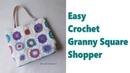 Easy DIY Grannysquare Crochet Shopper Tote