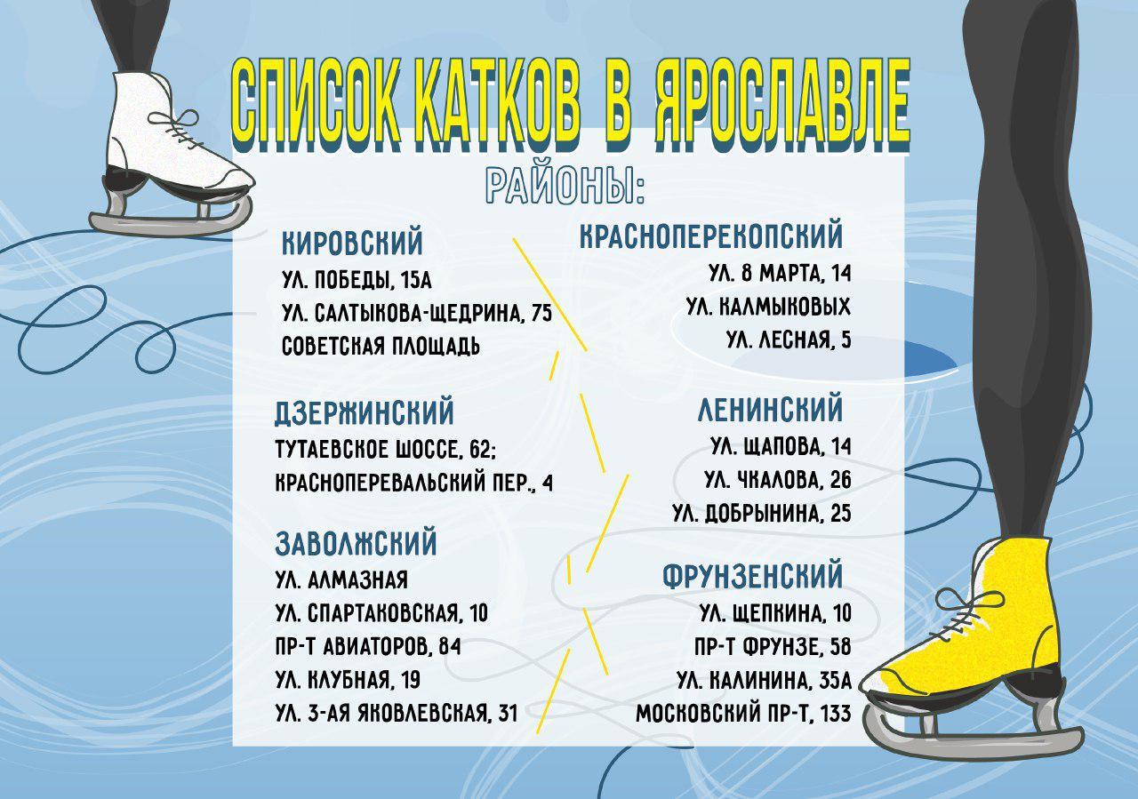 Список катков в Ярославле
