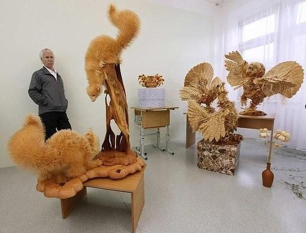 Скульптуры из обычной древесной стружки от Сергея Бобкова