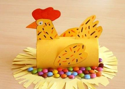 ПАСХАЛЬНЫЕ ПОДЕЛКИ КУРОЧКА Чтобы сделать такую пасхальную курочку вам понадобятся: картонный рулончик, картон желтого цвета, желтая двусторонняя бумага, фломастеры, ножницы, клей, конфеты