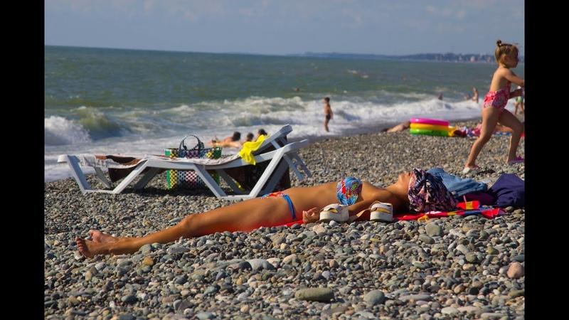 Грузия, пляж в Кобулети июль 2019, грузия после запрета.food and housing prices in Georgia.Kobuleti.