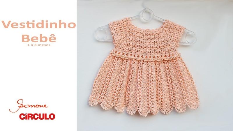 Vestidinho em Crochê para bebê 1 à 3 meses Prof Simone Eleotério