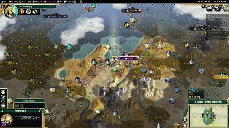 Civilization 5 Brave New World: Augustus Caesar - Roman Empire - Longplay Gameplay No Commentary