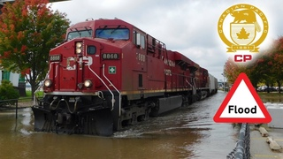 Trains in the Water - CP Trains Plow Through the Flooded Mississippi Waters - October 2018