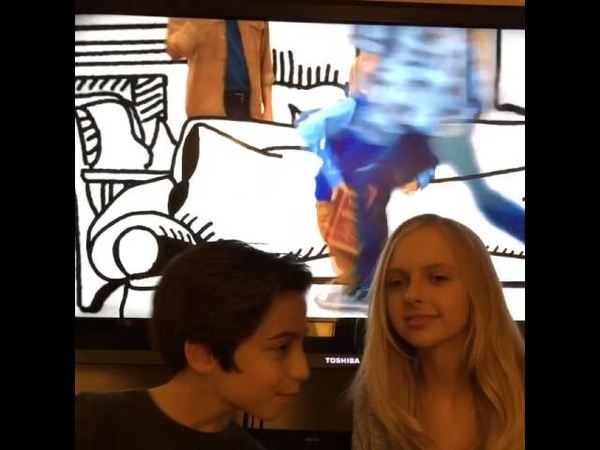 Aidan Gallagher and Jessica Belkin watching Nicky, Ricky, Dicky Dawn NRDD Jul 27, 2015