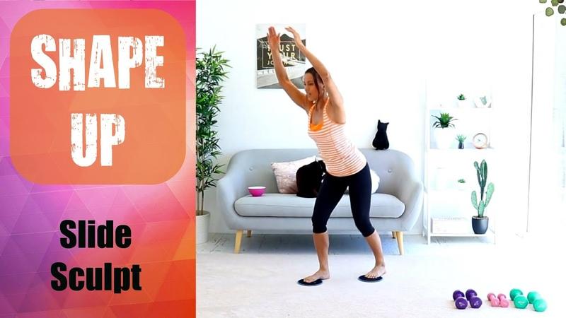 Sliders and weights Cardio Sculpt Workout Video BARLATES BODY BLITZ Shape Up Slide Sculpt