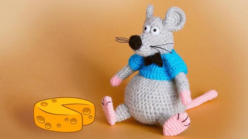 МК вязаная крючком игрушка Крыс 2 ЧАСТЬ   Crochet rat toy 2