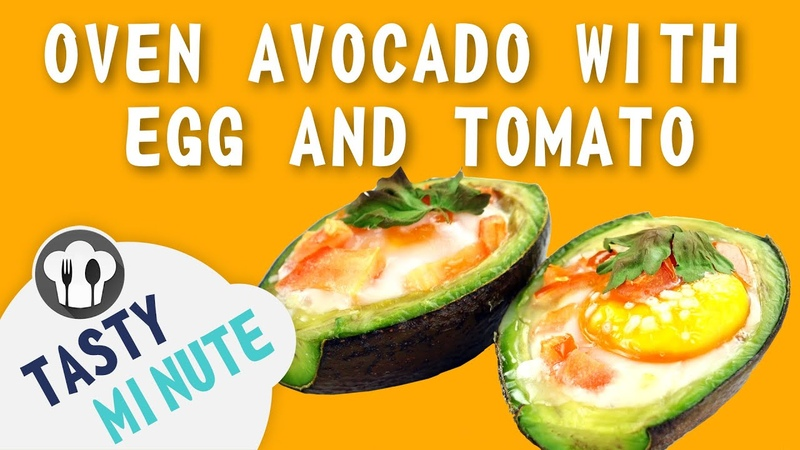 Oven avocado with egg and tomato