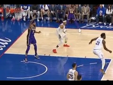 Javale McGee screams so hard for the ball since he's open Lakers vs Sixers