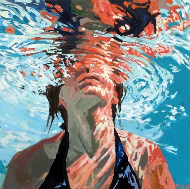 underwater painting of people by houston - 980×980