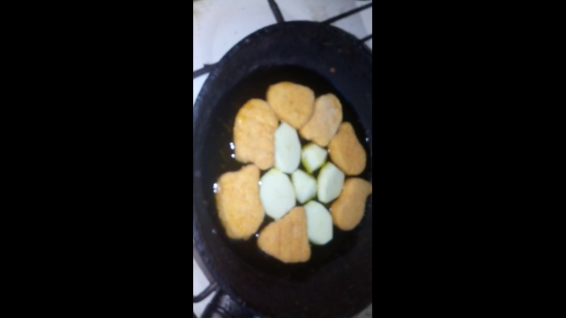 Жарим Наггетсы Часар с белым картофелем на Льняном масле