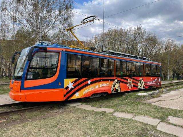 украсили трамвай к дню победы в челнах