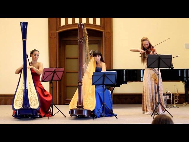 Арфистки и скрипачка Полина Ковалерова Паганини Кантабиле струнное трио