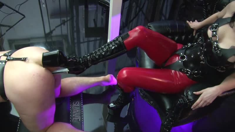 Fucked in the ass with a heel and the streams pissed her slave strapon domina femdom goddess anal sissy latex