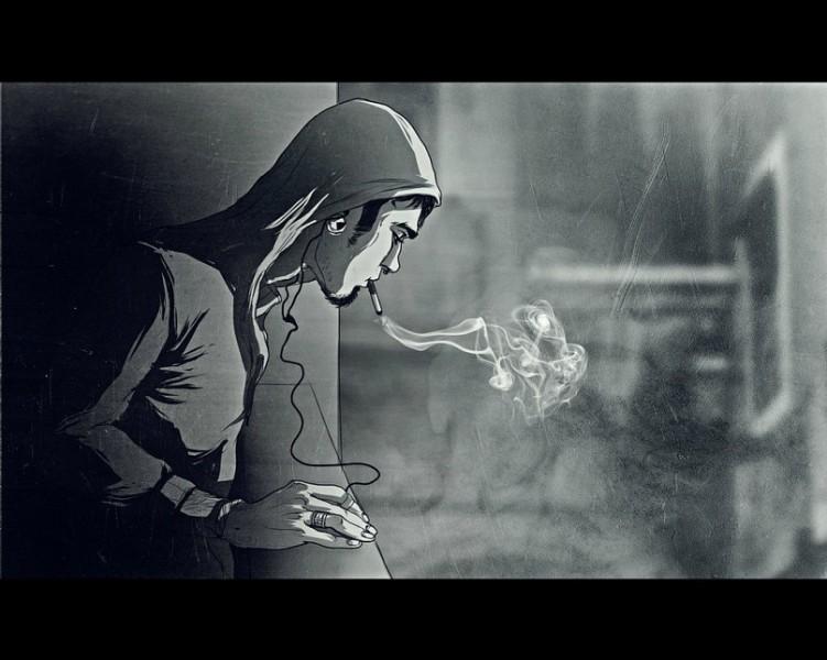 Картинка парень в капюшоне с сигаретой