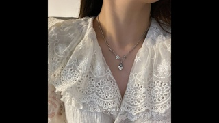 Индивидуальные сплайсинга дизайн любовь сердце смайлик 100% серебро 925 пробы дамы кулон ожерелье