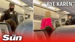 Passengers shout 'bye Karen' & applaud maskless woman getting kicked off flight