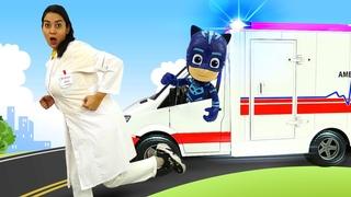 Spielzeug Video auf Deutsch. Die PJ Masks helfen Doktor Aua. Spielspaß mit Doktor Aua